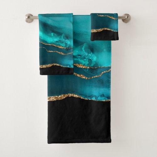 Modern Stylish Teal Agate & Gold Ribbon on Black Bath Towel Set