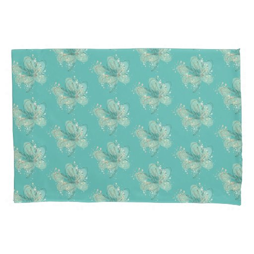 Modern Stylish Teal Watercolor Floral Pattern Pillow Case