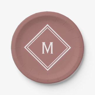 Modern Stylish Terracotta Custom Monogram Paper Plate
