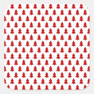 Modern Stylish Tree Pattern Red Square Sticker