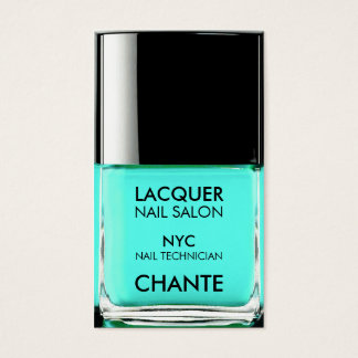 Modern stylish trendy turquoise nail polish chic business card