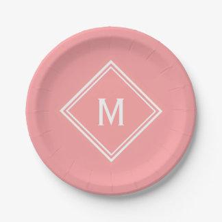 Modern Stylish Watermelon Pink Custom Monogram Paper Plate