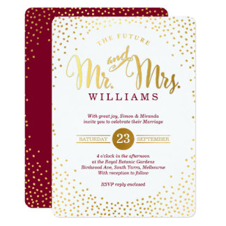 MODERN STYLISH WEDDING gold confetti maroon invite