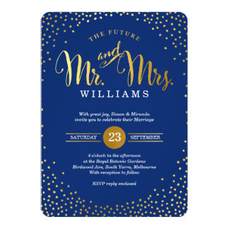 MODERN STYLISH WEDDING gold confetti navy blue Card