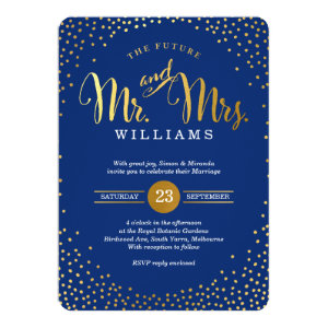 MODERN STYLISH WEDDING gold confetti navy blue 5x7 Paper Invitation Card