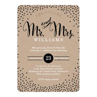 MODERN STYLISH WEDDING mini black confetti kraft Invitation
