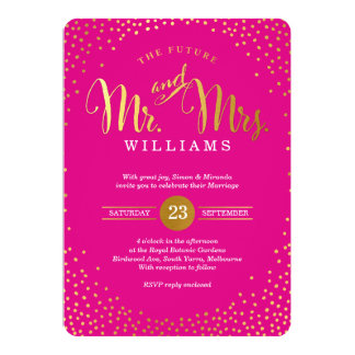 MODERN STYLISH WEDDING mini gold confetti hot pink Invitation