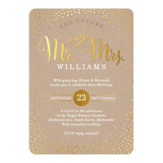 MODERN STYLISH WEDDING mini gold confetti kraft Card