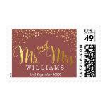 MODERN STYLISH WEDDING mini gold confetti marsala Postage Stamp