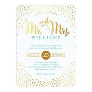 MODERN STYLISH WEDDING mini gold confetti mint Invitation