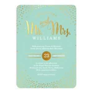 MODERN STYLISH WEDDING mini gold confetti mint 5x7 Paper Invitation Card