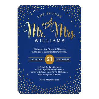 MODERN STYLISH WEDDING mini gold confetti navy Card