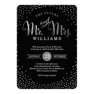MODERN STYLISH WEDDING mini silver confetti black Invitation