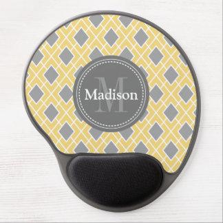 Modern Stylish Yellow Grey Diamond Pattern Gel Mouse Pad