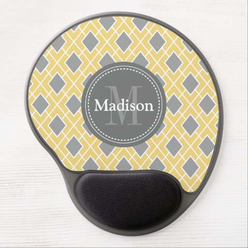 Modern Stylish Yellow Grey Diamond Pattern Gel Mousepad