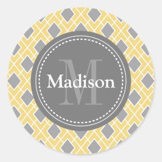Modern Stylish Yellow Grey Diamond Pattern Stickers
