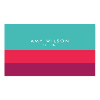 Modern Stylist Color Block Turquoise Pink Purple Business Card