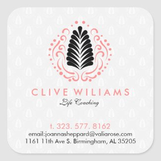 Modern Stylized Feathers & Swirls Logo Design Square Sticker