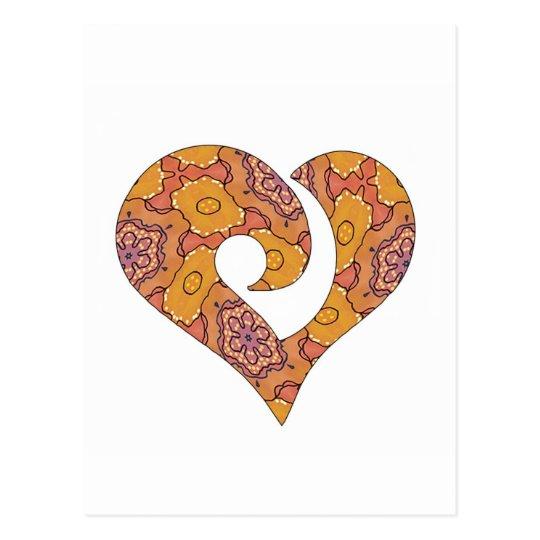 Modern Stylized Hooked Heart  02 Postcard