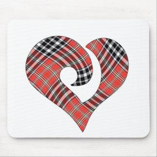 Modern Stylized Hooked Heart  Tartan 05 Mouse Pad