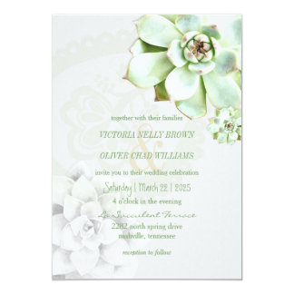 Modern Succulent Botanical Wedding Card