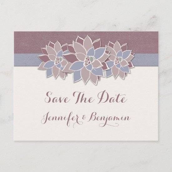 Modern Succulents Save The Date Announcement Postcard