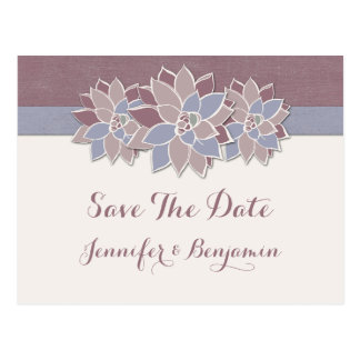 Modern Succulents Save The Date Postcard