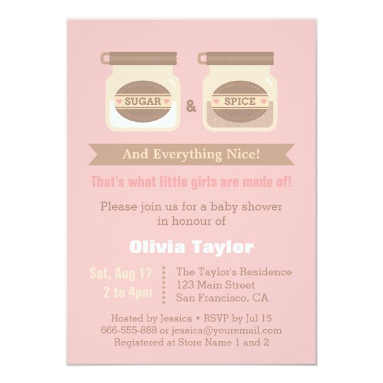 modern sugar and spice baby shower invitations | zazzle, Baby shower invitations