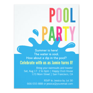 Modern Summer Birthday Pool Party Invitations