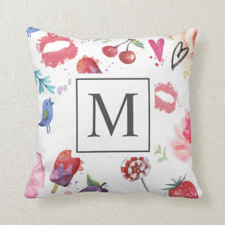 Modern Summer Chic Ditsy Monogram | Throw Pillow