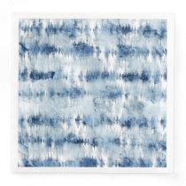 Modern summer navy blue tie dye watercolor paper dinner napkin