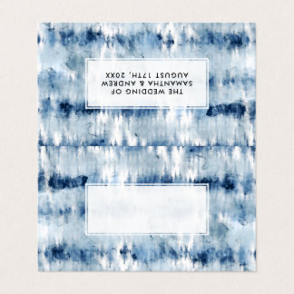 Modern summer navy blue tie dye watercolor place card