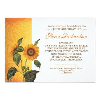 modern sunflower birthday invitations