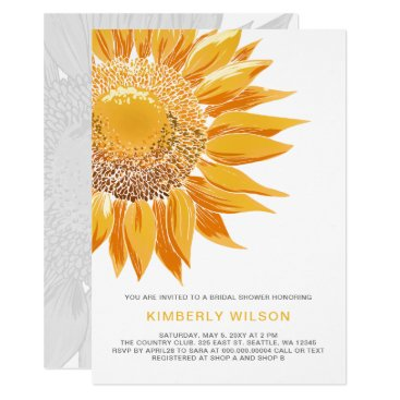 Modern SunFlower Bridal Shower Invitations