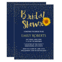 Modern Sunflower Bridal Shower Navy Blue Card