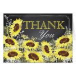 Modern Sunflower Chalkboard Thank You Card