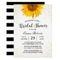 Modern Sunflower Gold Confetti Dots Bridal Shower Invitation