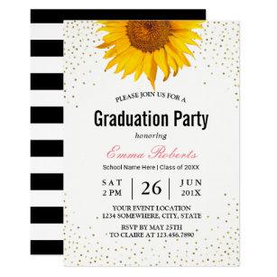 Sunflower graduation invitations zazzle modern sunflower gold confetti dots graduation invitation filmwisefo