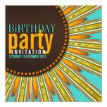 "Modern Sunflower Mint Orange Birthday Party Invite 5.25"" Square Invitation Card"