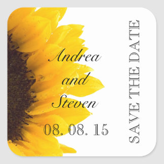Modern Sunflower Save the Date Stickers