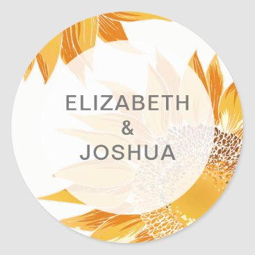 Modern SunFlower Wedding Classic Round Sticker