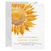 Modern SunFlower Wedding Invitations
