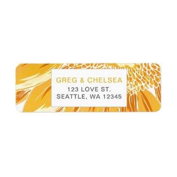 Modern SunFlower Wedding Label