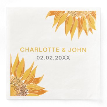 Modern SunFlower Wedding Paper Dinner Napkin