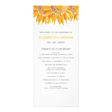 Modern SunFlower Wedding Programs