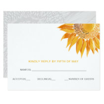 Modern Sunflowers Wedding rsvp Card