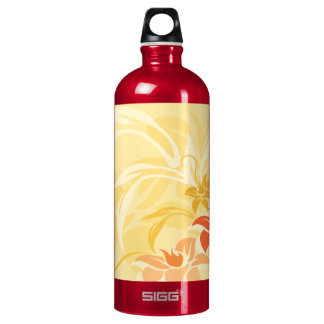 Modern Sunset Lily Leaf and Flowers Aluminum Water Bottle