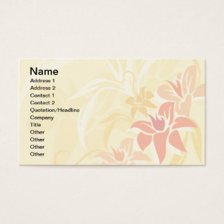 Modern Sunset Lily Leaf and Flowers Business Card