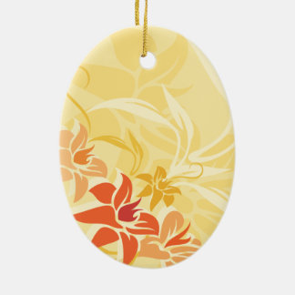 Modern Sunset Lily Leaf and Flowers Ceramic Ornament