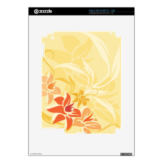Modern Sunset Lily Leaf and Flowers iPad 2 Decal